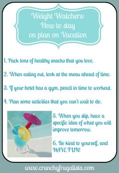 Don't let your vacation stall your weight loss efforts. HOw to stay on Weight Watchers plan on vacation