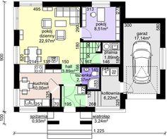 Projekt domu Dom przy Cyprysowej 30 - DOM EB3-52 - gotowy projekt domu Floor Plans, Houses, Floor Plan Drawing, House Floor Plans