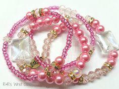 Pretty in Pink Beaded Bracelet Set by RandRsWristCandy on Etsy, $9.00