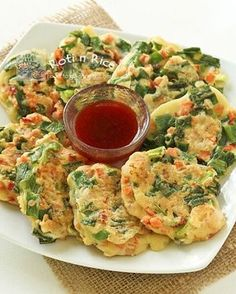 Chinese Savory Pancakes - great for a lunch with leftover veg, meat or fish. I used 2 eggs, 1/2 C flour and lots of ham and veggies. Fry in skillet and dip in sweet chili sauce. mc