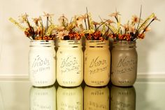 Fall/Autumn Home Decor - Thanksgiving - Painted and Distressed Mason Jar Vases - Harvest pint