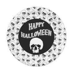 #Black White Happy Halloween Skull Pattern Paper Plate - #Halloween happy halloween #festival #party #holiday