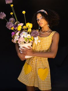 Cete The Heart Playsuit - Yellow | Garmentory Playsuit, Gingham, Looks Great, That Look, Jumpsuit, Neckline, Printed Matter, Yellow, Heart