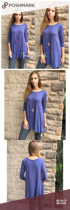 Steel Blue Swing Tunic Perfect steal blue swing tunic easy & flowy for the fall time. Pair with a blanket scarf & some boots and you have the ultimate fall outfit. Sizes S,M,L Dresses