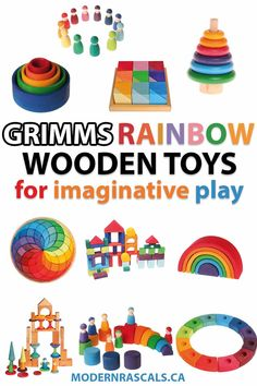Wooden toys by Grimms that promote imaginative play. These toys are perfect for girls or boys, kids and toddlers. If you want safe children's toys that are made with love and promote open ended play, check out some of the best rainbow colored wood toys out there. #toys #kidstoys #toddlertoys #woodentoys #woodtoys #play #toddlerplay #kidsplay #imagination #creativetoys Grimm's Toys, Baby Toys, Toddler Play, Toddler Activities, Sensory Activities, Sensory Play, Toddler Preschool, Wooden Toys For Toddlers, Kids Toys