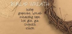 "In my home I love to add a bit of rustic with a bit of new. In this video I'm creating a burlap wreath to add new life to some of my ""junk"" and to make the new stuff not look so ""new"". Did I confuse you? Take a look at my video, it makes more sense! Easy Burlap Wreath, Easy Fall Wreaths, Diy Wreath, Wreath Crafts, Grapevine Wreath, Mesh Garland, Mesh Wreaths, Floral Wreaths, Christmas Ornament Wreath"