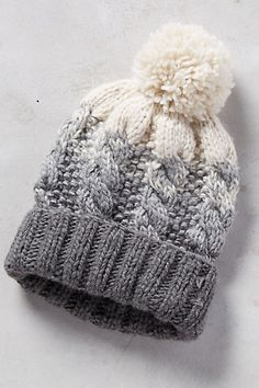 """I could make something like this, ombre cable pom pom Telford Beanie #anthropologie $65  Eugine Kim Wool, acrylic, nylon 16"""" crown"""