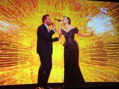 Olly Murs performs on the xfactor uk with Demi Lovato