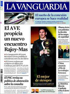 Titulares y Portada del 8 de Enero de 2013 del Periodico La Vanguardia ¿Que te parecio este día?