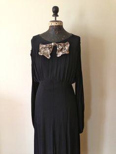 1930s Dress / STUNNING Crepe de Chine Black by WomenInLoveVintage, $375.00