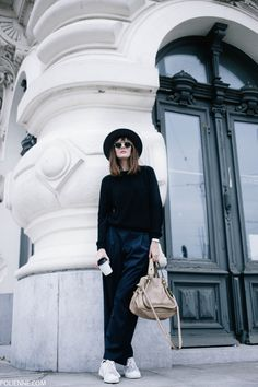 POLIENNE | wearing a MANGO coat, WEEKDAY wide pantalon, H&M knit and hat, ADIDAS Stan Smith sneakers