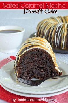 Salted Caramel Mocha Bundt Cake | Inside BruCrew Life - chocolate mocha cake topped with white chocolate and salted caramel topping