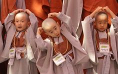 Children attend the 'Children Becoming Buddhist Monks' ceremony forthcoming Buddha's birthday at a Chogye temple on May 3, 2013 in Seoul, South Korea.