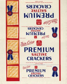Nabisco - Premium Saltine Crackers - paper box wrap - 1930's 1940's by JasonLiebig, via Flickr