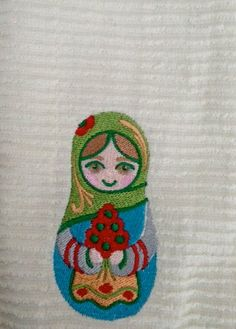 Cotton Dish Towel Embroidered Russian Stacking Doll by Renjaz, $9.00