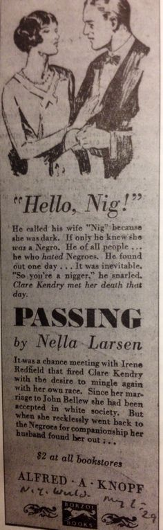 "An Excerpt From the Novel Titled ""Passing"" By Nella Larsen"