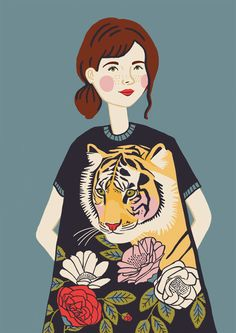 Tiger Girl, Pigment Ink, Painting Patterns, Gouache, Acrylics, Vivid Colors, Printmaking, Illustrators, How To Draw Hands