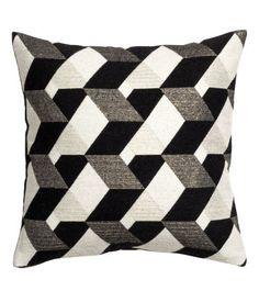 Jakardikudottu tyynynpäällinen   Musta/Valkokuviollinen   Home   H&M FI