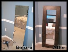 Leaning Mirror with a great tutorial for attaching the mirror to the wood frame!