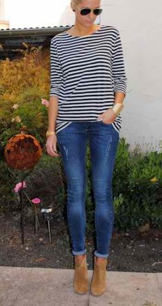 Cuffed skinny jeans + stripes...classy..simple...love