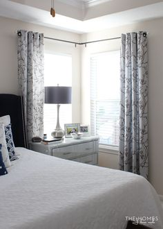 Window curtains Bedroom - Making the Case for Hanging Curtains in Your Rental. Corner Window Curtains, Corner Curtain Rod, Corner Window, Curtains Living, Corner Curtains, Master Bedrooms Decor, Bedroom Furniture Placement, Home Decor, Window Treatments Bedroom