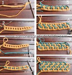 Aprende a tejer crochet entrelazado o interlocking / Técnica de tejido Tapestry Crochet, Crochet Motif, Crochet Doilies, Crochet Hooks, Crochet Afghans, Manta Crochet, Diy Crafts Crochet, Crochet Projects, Basket Weave Crochet