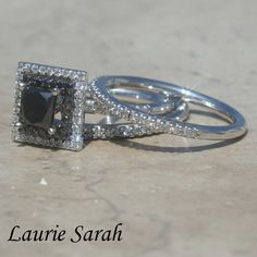 Black Diamond Wedding Set with Princess Cut, double halo and half eternity Wedding Bands