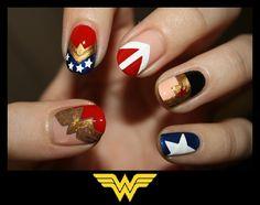 Wonder Woman nails www.nailswithlove.blogspot.com