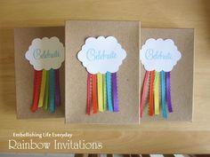 Ideia original: convite feito com papel kraft. Minha ideia fácil de lembrancinha: nuvem de cartolina + fitas de cetim + saquinho kraft