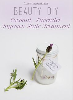 You will need:  3 tablespoons coconut oil 7 drops lavender oil 12 drops tea tree oil Instructions:  Mix all ingredients in a small jar or bottle (preferably one that can be sealed off so you can use your mixture later). Apply a small amount to affected area after shaving, waxing, or any hair removal and rub in until it begins to absorb. Watch your ingrown hairs disappear!