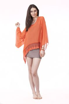 Adelle Top in Orange with Simply Long Cami in Stone