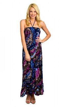 Blue Burgundy Printed Maxi Beach Dress $21