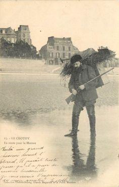 Carte postale sur le thème de la #chasse : Gibier d'Eau Baie de Somme-Le Crotoy. Vendue aux #encheres le 28/05/14 par l'étude Morand