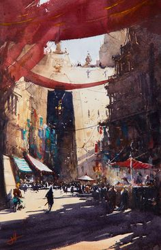 Along the Market strand, Judd Mercer, Watercolor, 2016 : Art City Landscape, Fantasy Landscape, Sculpture Painting, Painting & Drawing, Painting Styles, Game Character Design, Modern Artists, Watercolor Paintings, Watercolours