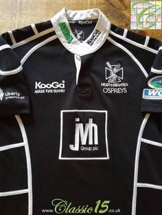 Official Kooga Ospreys home rugby shirt from the season. Rugby Kit, Rugby Shirts, Swansea, Team Names, White Trim, Sport T Shirt, Adidas Jacket, Shirt Designs