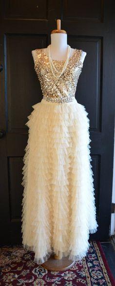 Long Ivory Ruffled tulle skirt