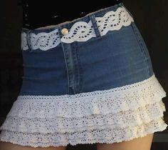croche com receitas customização saia calça jeans com barrados e cintos em croche                                                                                                                                                     Mais