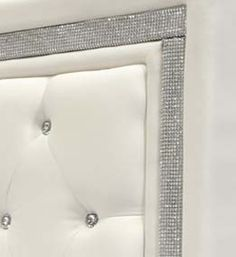 319 Faux Leather Head Board W Tufted Crystals And Rhinestones