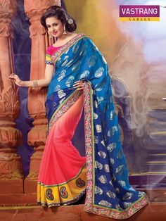 Georgette/Viscose Saree with Embroidery & Silk Blouse