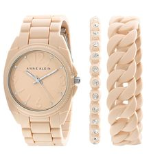 Anne Klein Women's AK/1957BLST Swarovski Crystal Accented Blush Pink Silicone Bracelet Watch Set -- Check out this great watch.