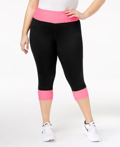 Ideology Plus Size Colorblocked Cropped Leggings, Only at Macy's