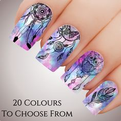 70 Stunning Dream Catcher Nail Designs, When you get a terrible dream or worse, a nightmare, odds are your day is going to be ruined and in you're going to be in zombie mode. Owl Nail Art, Owl Nails, Minion Nails, Cute Nails, Pretty Nails, Dream Catcher Nails, Galaxy Nail Art, Nagellack Design, Nails For Kids