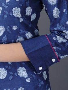 Indigo-White Dabu-Printed Button-Down Cotton Tunic Salwar Suit Neck Designs, Neck Designs For Suits, Kurta Neck Design, Sleeves Designs For Dresses, Salwar Designs, Dress Neck Designs, Kurta Designs Women, Kurti Designs Party Wear, Stylish Dress Designs