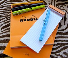Lamy Safari fountain pens and Rhodia notepads