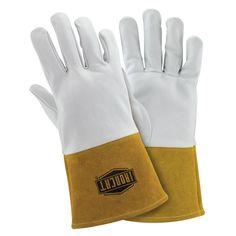 X-Large Premium Top Grain Kidskin TIG Welding Gloves, White And Tan