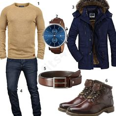 Herren-Outfit für den Winter mit beigem Blend Pullover, June & Ed Armbanduhr, blauem Mantel, schmalem Ledergürtel, A. Salvarini Jeans und Bugatti Stiefeln. #outfit #style #herrenmode #männermode #fashion #menswear #herren #männer #mode #menstyle #mensfashion #menswear #inspiration #cloth #ootd #herrenoutfit #männeroutfit