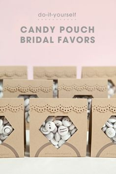 """If you are looking for the perfect DIY candy favors for your engagement party, bridal shower or bachelorette - these """"diamond candy pouch"""" favors are it! Diy Wedding Projects, Wedding Crafts, Diy Wedding Decorations, Diy Diamond Rings, Ruby Rings, 60th Anniversary Parties, Candy Favors, Rustic Wedding Favors, Printable Designs"""