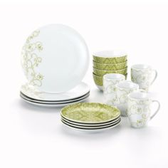 Rachael Ray Dinnerware Curly-Q 16-Piece Dinnerware Set, Green by Meyer. $49.99. Cereal Bowls feature a decorative abstract flower design on the interior base for a pop of color and flair. Durable porcelain dinnerware in a brightly colored curly-q pattern for all occasions and everyday table setting. 16-piece set: service for 4 includes 4 of each 10-1/2-inch dinner and 8-inch salad plates, 5-1/2-inch/18-ounce cereal bowls and 11-ounce mugs. Microwave and dishwasher safe, ...