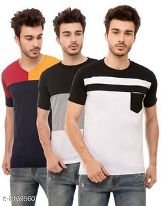 Tshirts Men's Cotton Blend T-shirts  ( Pack Of 3 ) Fabric: Cotton Blend Sleeves: Half Sleeves Are Included Size: S M L XL (Refer Size Chart)  Length: Refer Size Chart Fit: Regular Fit Type: Stitched Description: It Has 3 Pieces of Men's T-Shirts Pattern: Solid Country of Origin: India Sizes Available: S, M, L, XL   Catalog Rating: ★4.1 (473)  Catalog Name: Trendy Men's Cotton Blend T-shirts Combo Vol 3 CatalogID_288025 C70-SC1205 Code: 794-2169560-