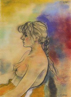 R. B. Kitaj (1932-2007), Miranda (Face Left) (1980), pastel and charcoal, 57 x 78 cm. Via Sotheby's.